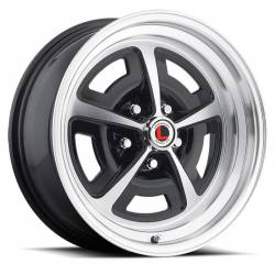 69 - 73 Mustang 15 x 7 Magnum Alloy Wheel, 5 on 4.5 BP, 4.25 BS-Gloss Black/Machined