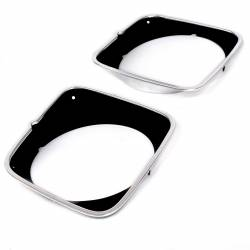 All Classic Parts - 1973 Mustang Headlight Door, Mach 1,Black Painted Polished Aluminum, Pair - Image 2